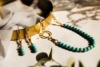 Laguna Beaded  Necklace: Gold and Turquoise